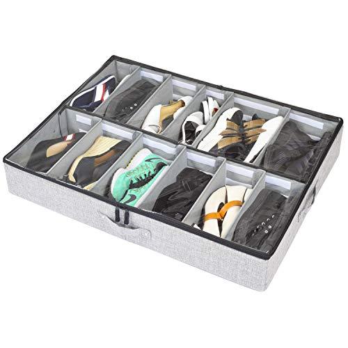 tall shoe storages storageLAB Under Bed Shoe Storage Organizer, Adjustable Dividers - Fits Up to 12 Pairs - Underbed Storage Solution (Grey)
