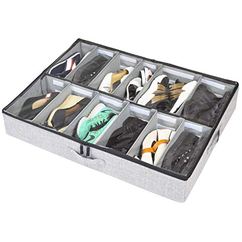 storageLAB Under Bed Shoe Storage Organizer, Adjustable Dividers - Fits Up to 12 Pairs - Underbed Storage Solution (Grey)
