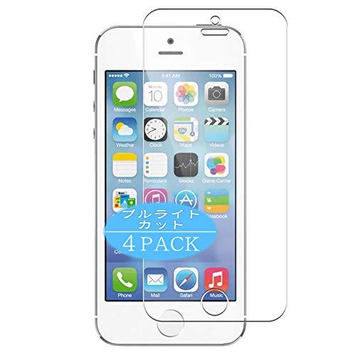 VacFun 4 Piezas Filtro Luz Azul Protector de Pantalla, compatible con Apple iphone 5 / 5s / 5c / SE, Screen Protector Película Protectora(Not Cristal Templado) NEW Version