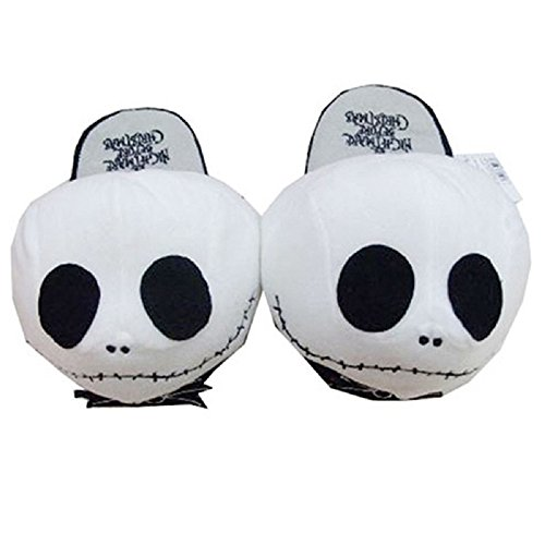The Nightmare Before Christmas Jack Skellington Pantuflas de peluche suaves y cálidas