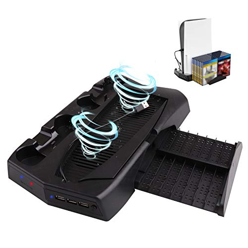 Cooling Fan Station Charging Dock Vertical Stand for PlayStation 5 PS5 with 3 USB Hubs, 2 DualSense Controller Charging Dock and 14 Games Slots
