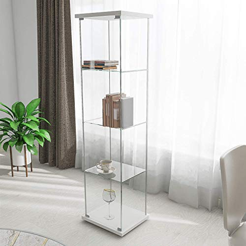 """Contemporary 4-Shelf Glass Display Cabinet in Clear with Door, Floor Standing Curio Bookshelf for Living Room Bedroom Office, 64"""" x 17""""x 14.5"""" (White Wood)"""