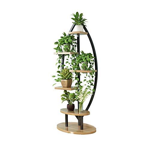 WLM Support de fleurs créatif en métal multicouche pour salon, bureau, pot de fleurs, support pour plantes d'intérieur A+ (couleur : noir, taille : 60 x 30 x 120 cm)