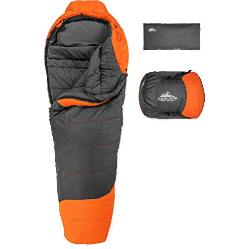 Cascade Mountain Tech Mummy Sleeping Bag with Pillow and Compression Sack - Lightweight, Water Resistant, Compact, 3 Season Backpacking Sleeping Bag for Camping, Hiking, and Outdoor Adventure
