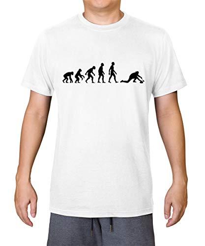 Evolution of Man Curling - Camiseta para hombre 100% algodón orgánico, blanco, L