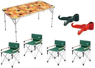 コールマン 7点セット ナチュラルモザイクリビングテーブル140cm スリムキャプテンチェア グリーン 4脚 コンビニハンガー Coleman 2000026750 2000013106 170-9439