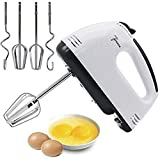 Jeval Electric Hand Mixer with Stainless Steel Attachments, 7 -Speed, Includes; Beaters, Dough Hooks