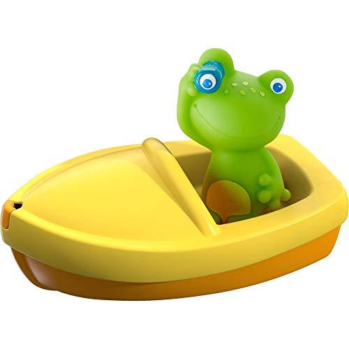 HABA 303864 - Badeboot Frosch ahoi!, Badewannenspielzeug mit Fingerpuppe, Badespielzeug ab 18 Monaten