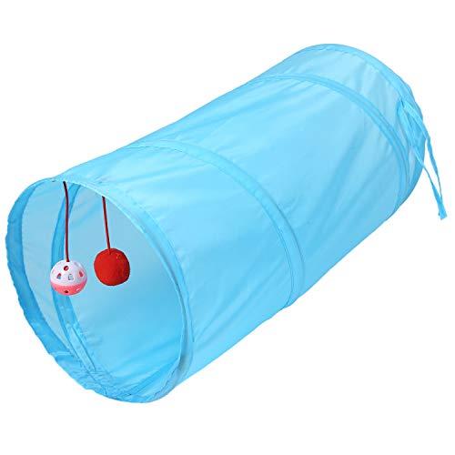Gesh Túnel para mascotas, juego de 2 tubos, plegables, juguete para cachorros, hurones, conejos, túnel, tubos, color azul claro