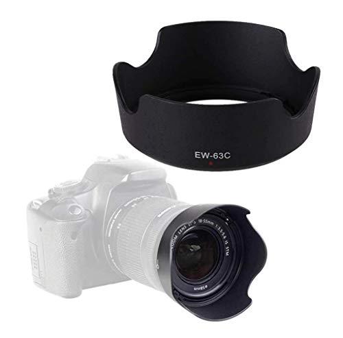 Hamiss EW-63C Parasol para cámara réflex digital Canon EOS Rebel T7i T6i T5i SL3 SL2 SL1 80D 70D 77D con kit de objetivo Canon EF-S 18-55mm f/3,5-5,6 IS STM o Canon EF-S 18-55mm f/4-5,6 IS STM