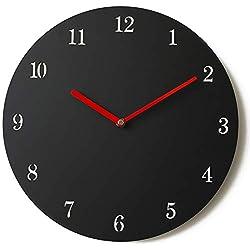 Stephanie Imports Modern Minimalist Black & Red Silent Wall Clock