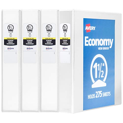 Avery 1.5 Economy View 3 Ring Binder, Round Ring, Holds 8.5 x 11 Paper, 4 White Binders (19201)