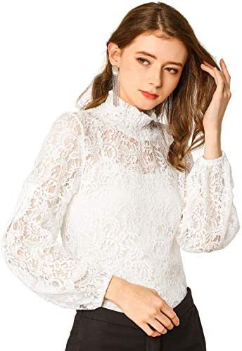 Allegra K Women s Long Sleeve Lace Tops Sheer Turtleneck Vintage Blouses Shirts Small White product image