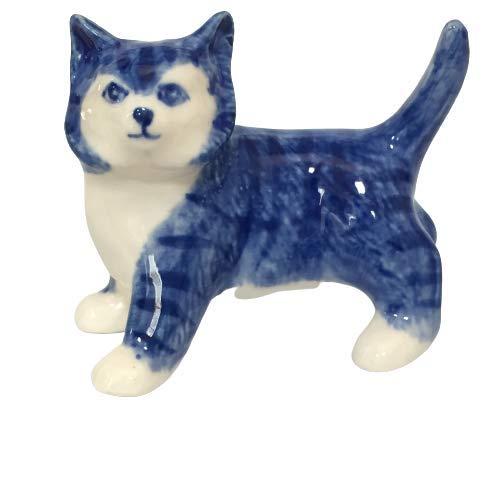 Ceramic Figurine Dollhouse cat Delft Blue White Collectible Miniature Bonsai Garden Handmade Painted Gift no 4