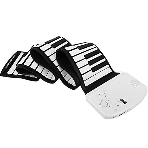 Vongzhong新売り ロールピアノ 61 88鍵盤 電子ピアノ スピーカー内蔵 移調機能搭載 MIDI対応 ヘッドフォン&マイク対応 キーボード ピアノ 楽器 初心者 練習 子供 楽器 折り畳み式 おもちゃ 誕生日47種類音色 128種類リズム とデモ曲 充電式