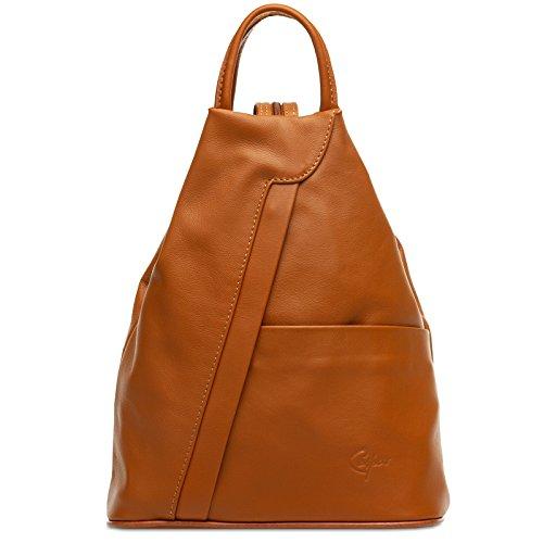 Caspar TL782 2 in 1 Leder Rucksack Handtasche, Farbe:cognac, Größe:One Size