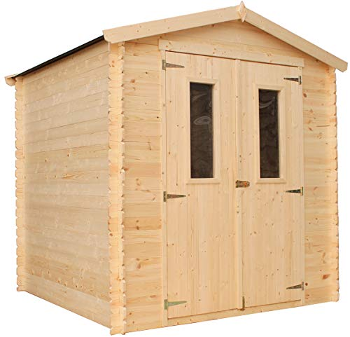 TIMBELA Holzhaus Gartenhaus M343C - Gartenschuppen Holz B216xL206xH218 cm/ 3.53 m2 Lagerschuppen für Garten - Fahrrad Schuppen - Wasserfestes Dach