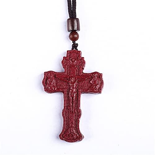YNING Colgante de Collar de Cruz de Cinabrio/Adornos Cristianos de Jesús/Adecuado para Regalos para Mujeres, Novias y Esposas,Adecuada para Regalos para Hombres, Novios y Esposos