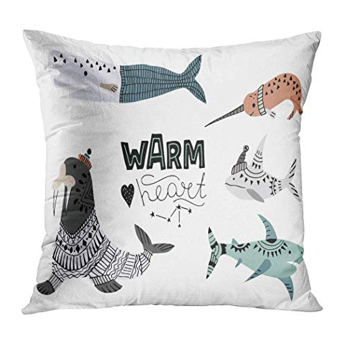 GFFD Pillow Cover Illustration Whales Fish Such Narwhal Hidden Zipper Home Sofa Cushion Case Square Printed Pillowcase