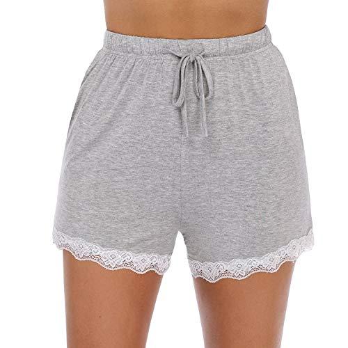 Hawiton Damen Pyjamahose kurz Spitze Seite Karierte Pyjama Hose Baumwolle Weiche zum Schnüren Sommer Shorts