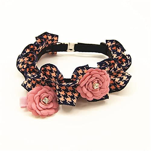Lindo Collar de Tela para Perro, Collar de Flores navideñas para Perros pequeños y Meidum, Collar para Mascotas, Accesorios para Mascotas, Rosa, L