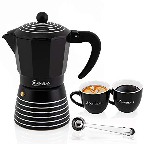 RAINBEAN Stovetop Espresso Maker 6 CUP , Moka Pot 2021 Prime Gift Box, Italian Cuban Greca Coffee Maker Easy to Use & Clean, Black Espresso Percolator Aluminum Durable, Two 8oz Ceramic Coffee Cup & Stainless Spoon & Placemat