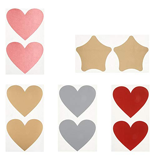50 Stück Rubbelsticker etiketten herzförmige Rubbel-Etiketten und Pentagramm Scratch Off Label für Einklebebuchbuch, Postkarte Überraschung Rubbellose und DIY Hochzeitsspiele (5 Stil)