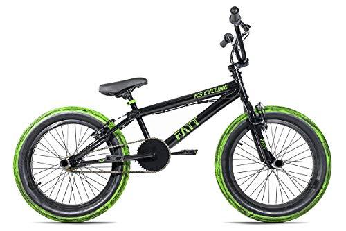 KS Cycling BMX Freestyle 20'' Fatt schwarz-grün mit Muddy Reifen