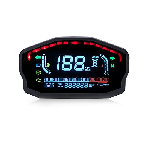 PACEWALKER Universal tachometer motorrad LED LCD Tachometer Digital Odometer Hintergrundbeleuchtung für 1,2,4 Zylinder für BMW Honda Ducati Kawasaki Yamaha(Professionelle Installation erforderlich)