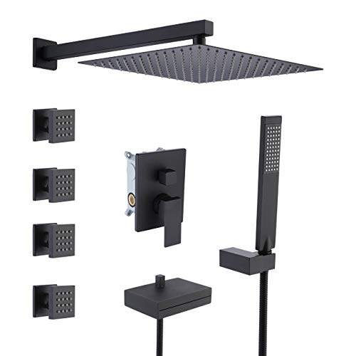 KES Shower System 4-Function Shower Faucets Sets Complete 12 Inch Rainfall Shower Head with 4 Shower Body Sprayer Jets and Waterfall Tub Faucet Matte Black, XB6405-BK