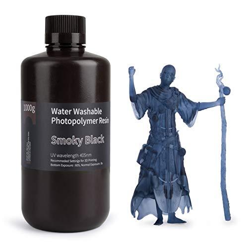 ELEGOO Resina de fotopolímero estándar de resina 3D lavable al agua LCD de curado UV 405nm para impresión LCD 3D 1000 gramos negro...