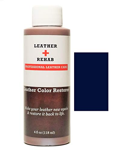Leather Rehab Leather Color Restorer - Repair Furniture, Couch, Car Seat, Shoes, Sofa, Purse and Vinyl - 4 oz. Navy Blue