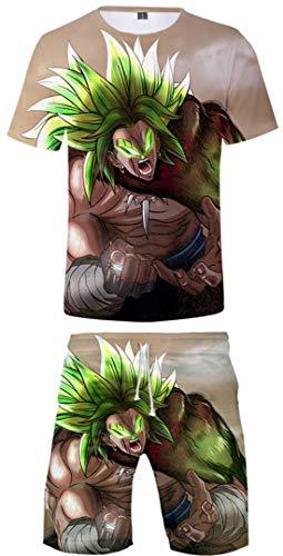 Silver Basic Dragon Ball Z Camiseta y Pantalones Chándal para Hombre y Niño Goku Top Chándal de Ropa Deportiva Dragon Ball Pijamas 3XL,Goku Cosplay-6