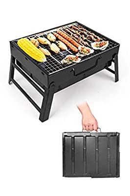 BBQ Charcoal Grill?Stainless Steel Folding Portable Lightweight Barbecue Grill Tools for Outdoor Grilling Backyard Party Terrace Hiking Picnics(for 3-6 Person)15.35''x11.41''x2.95''