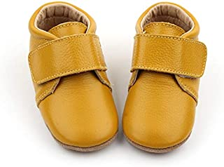 Alex - Australian Designed, Slip-on Velcro Fastening First Walkers, Boys or Girls Classic Casual Style Boots for Babies and Toddlers, Mustard Yellow. 100% Natural Genuine Leather.