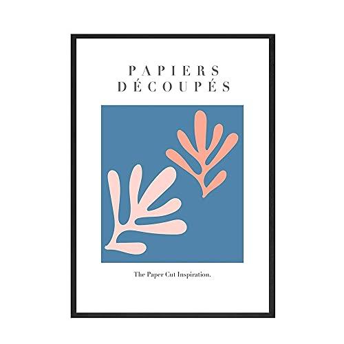 Pegatinas de papel nórdicas impresiones de carteles impresiones abstractas azules y rosas imágenes artísticas de pared pinturas de lienzo sin marco de la familia B 20x30cm