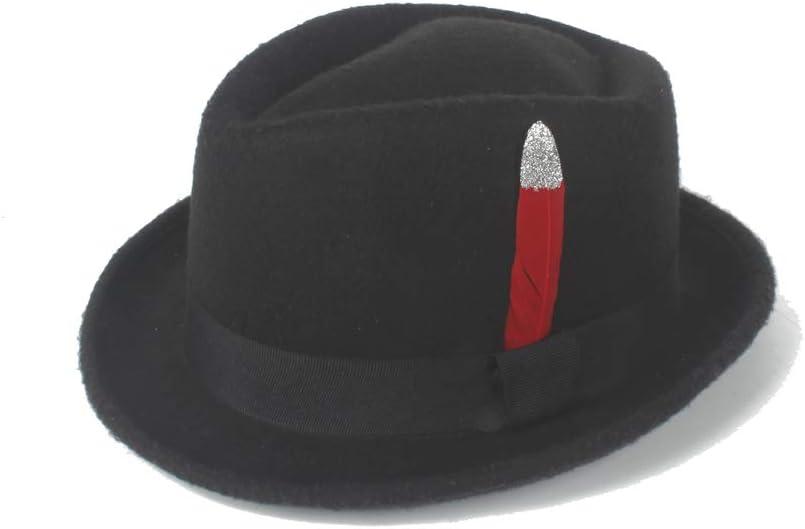 L.W.SUSL Beautiful Fedora Hat Felt Wool Red Silver Feather Male Jazz Wool Cap Classic Church Soft Felt Hat Retro Shallow (Color : Black, Size : 56-58CM)