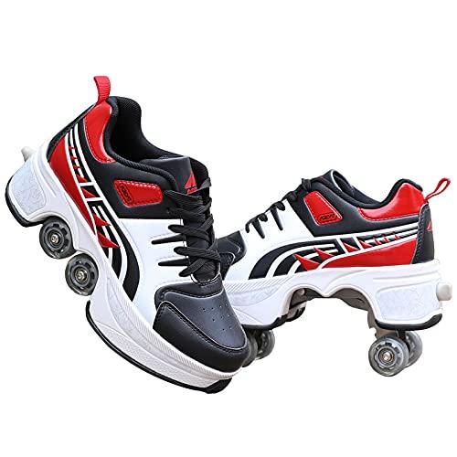 Ajustables Zapatos con Ruedas Aire Libre Y Deporte Gimnasia Zapatillas Zapatos Ruedas Deformación 2 En 1 Patines Botas De Patines De 4 Ruedas