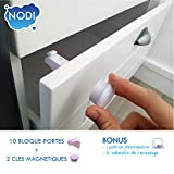 10 Bloque Porte Invisible + 2 clés + BONUS - NODI - HAUTE QUALITÉ - Sécurité placard et tiroir -...