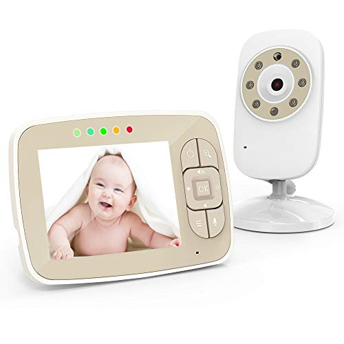 Baby Monitor-3.5 inch Large Screen Video Baby Monitor with Camera and Audio for Baby Nursery,Support Multi Camera,Two Way Talk,Temperature Sensor,Lullabies,Infrared Night Vision Baby Camera