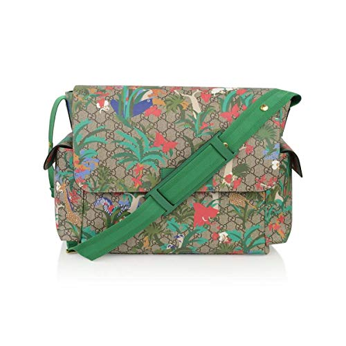 Gucci Jungle Green Print GG Canvas Diaper Bag Beige Multicolor Baby Italy New Gucci GG canvas baby bag with Jungle print and leather trim. Adjustable shoulder strap with stroller snaps. Flap top closure. Exterior side pockets. Includes fold-out chang...