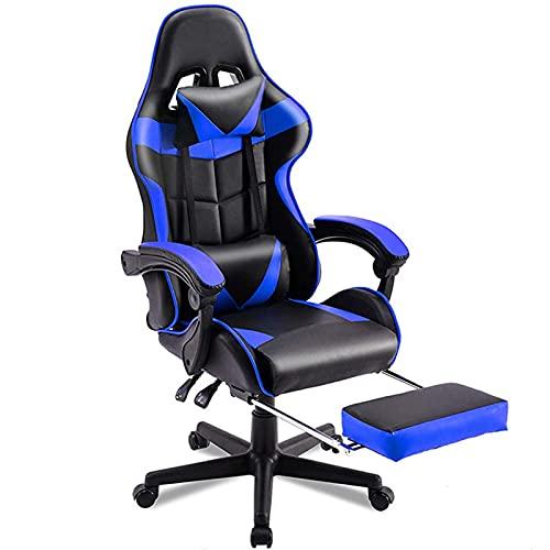 Silla de juegos, E-Sports, silla de carreras, silla de oficina, Gamer, ajustable, giratoria, silla de escritorio ergonómica de respaldo alto con reposapiés azul
