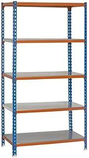SimonRack SI414 Kit Estantería con 5 Estantes, Azul, naranja y galvanizado, 2000 x 1000 x 400 mm