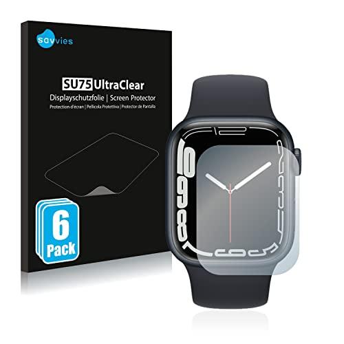 savvies Protector Pantalla Compatible con Apple Watch Series 7 (41 mm) (6 Unidades) Película Ultra Transparente