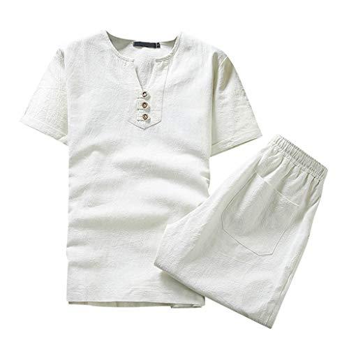 Yowablo Set Herren Baumwolle Leinen Solid Color Kurzarm T-Shirt Große Größe Casual Set (4XL,Weiß)