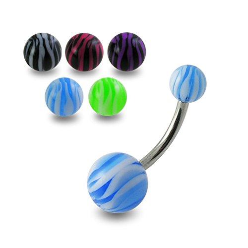 10 Stück Packung UV-Zebra-Ball mit 14 Gauge - 10 MM Länge 316L chirurgischer Stahl Banane Bauchnabel Piercing ring