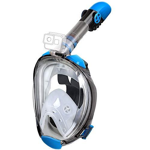 OUSPT Tauchmaske,Schnorchelmaske Vollmaske mit 180° Sichtfeld Vollgesichtsmaske mit Abnehmbarer Kamerahalterung und Ohrenstöpsel Anti-Fog Anti-Leck für Kinder Erwachsene (Klares Blau, L/XL)