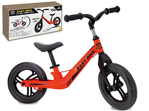 Teorema Bicicleta sin Pedales para niños, con Suave sillín Ajustable, Ruedas de Goma EVA de 30 cm de diámetro, Carga máxima de 25 kg, Unisex, Naranja Fluorescente, cód. 66602