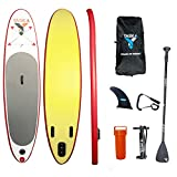 YASKA Stand Up Paddle Board with SUP?4.7 Inches Thick?, Hand Pump, Adjustable Aluminum Floating Paddle, Rucksack and Bottom Fin for Paddling