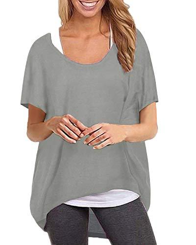 ZANZEA Maglietta Donna Manica Corta Taglie Forti Irregolare T Shirt Sciolto Tunica Casual Top Manica Pipistrello Collo Tondo Grigio XXL